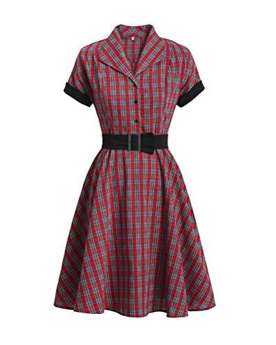 Minetom Gonna Vintage Anni 50 60 Audrey Hepburn Vestiti da Cocktail da Donna Cotone Manica Corta E Rosso S
