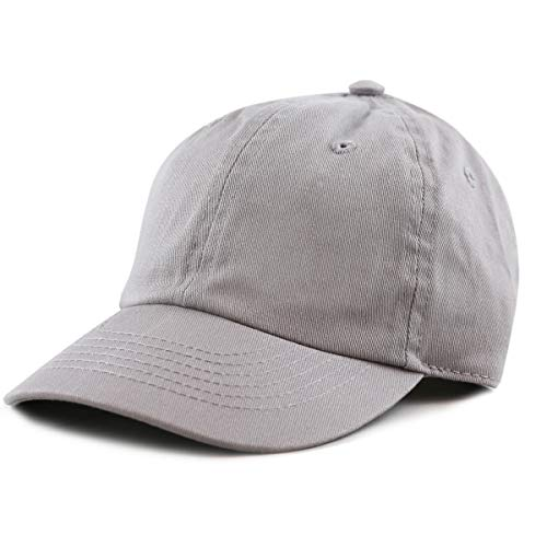 The Hat Depot Kids Washed Low Profile Cotton and Denim Baseball Cap (Grey)