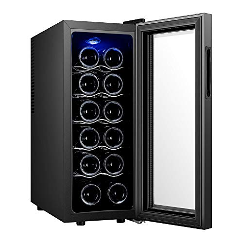 XEMQENER Wine and Drinks Fridge with LED Display, 35L for 12 Bottles, Free Standing Under-Counter Refrigerator with Glass Door for Home,Office or Hotal (35L)