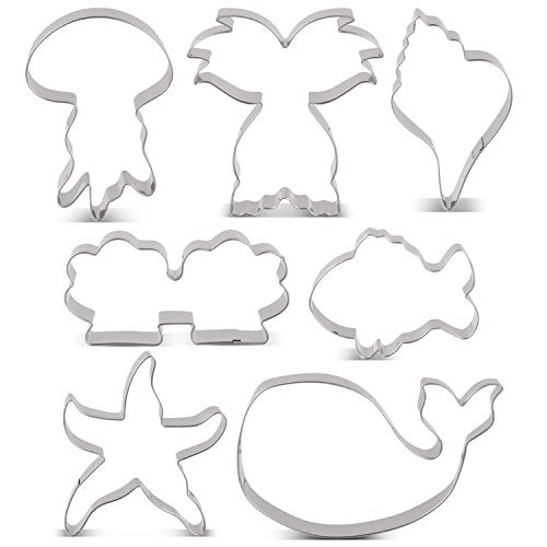 LILIAO Ocean Creatures Cookie Cutter Set for Kids - 7 Piece - Whale, Fish, Starfish, Jellyfish, Shell, Conch and Mermaid Tail/Whale Tail Cutter Shape - Stainless Steel