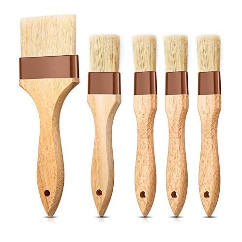 Camisin 5 brochas de pastelería, para hornear con mango de madera, cepillo de aceite para asar mantequilla, huevo o adobo.