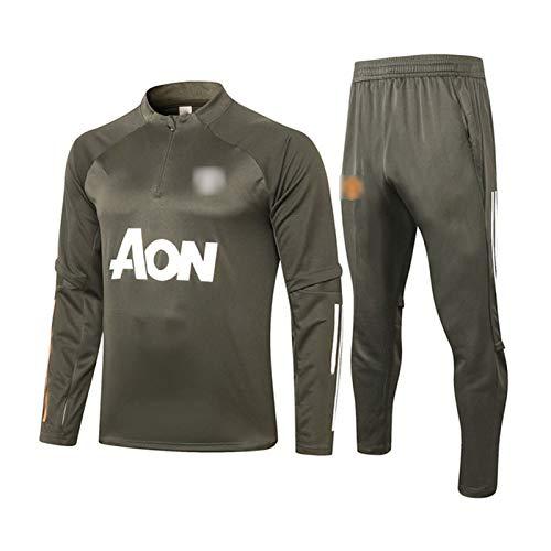 Camiseta de entrenamiento del Manchester United Football 2021, chándal de manga larga y sudadera para hombre + pantalón, uniforme de competición verde M
