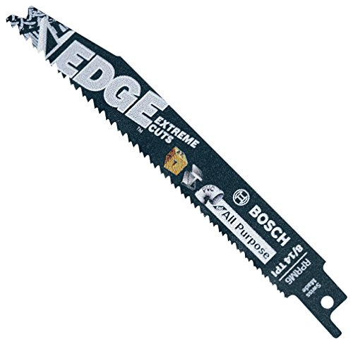 BOSCH RPRM6 5 pc. 6 In. 8/14 TPI Edge Reciprocating Saw Blades for All Purpose, Blue