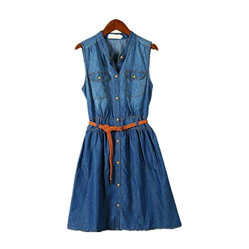 AMYMGLL Cintura del Vestido de Mezclilla Estilo Europeo de la Mujer era...