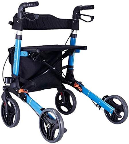 Andadores para discapacidad Andador para Ancianos Silla con Ruedas Walker con Asiento Plegable Transporte Movilidad Auxilios for la Tercera Edad de la desventaja