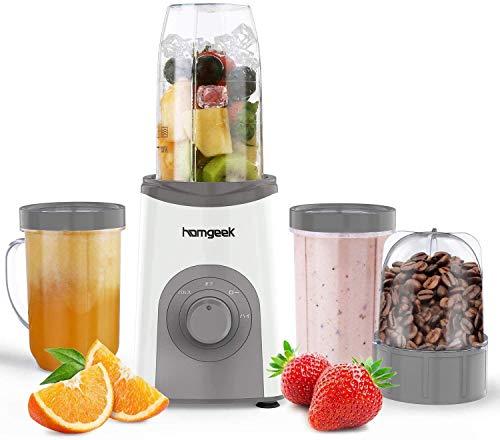 homgeek ミキサー ジューサー スムージー 4カップ 2種カッター付き 氷も砕ける 2段調速 離乳食 ブレンダー 水洗い可能 滑り止め設計 過熱保護 350W 果物 野菜 栄養補充 mixer