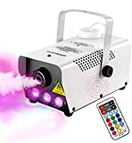 2. eletecpro Halloween Fog Machine,500W Wireless Remote Control Portable Smoke Machine with 7 Color LED Lights,fast heating,for Holidays Parties Weddings Stage Club Bar,- Metal Black