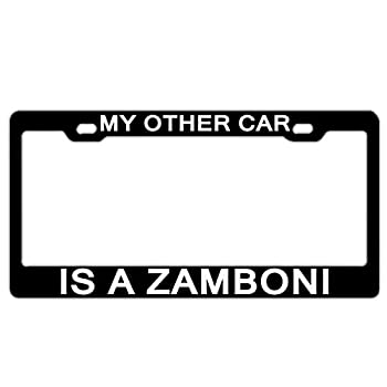 BIN SHANG My Other Car is A Zamboni Black License Plate Frame Car Stainless Steel Metal 2 Holes Screws