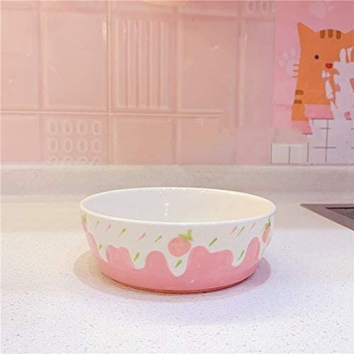Yqs Dinnerware Set 1Pc Kawaii Pink Strawberry Pattern relief non-slip rice bowls soup bowls tableware restaurant dessert bowl (Color : Bowl)
