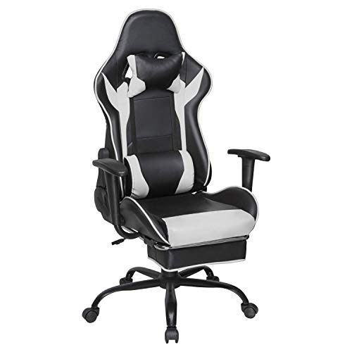 HomeSailing Ergonomic Gaming Racing Chair Office Swivel Chair for Desk Reclining Chair with Footrest Armrest PU Leather Padded with Headrest Lumbar Support (Black & White) chair footrest gaming