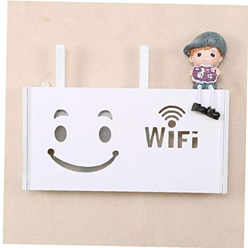 Lankater Wand Befestigter Smiley Wireless Router Box Holz-Kunststoff WiFi Regal Hängend Stecker Plattenhalter Organizer