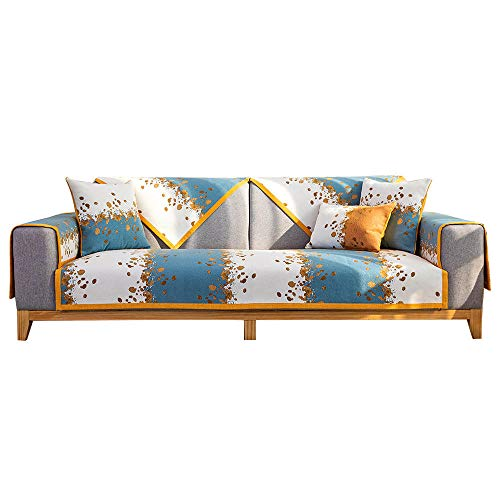 kinfuki Estiramiento Elástico Funda sofá Toalla,Cojín Delgado Antideslizante para sofá (2 Fundas de Almohada Gratis) -Mar Azul, 90 * 180