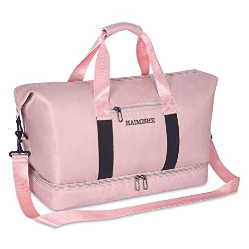 Kitbeez Sporttasche Frauen Reisetasche Damen mit Schuhfach, Trainingstasche Fitness Gym Tasche Handgepäck Schwimmtasche mit Nassfach Pink...