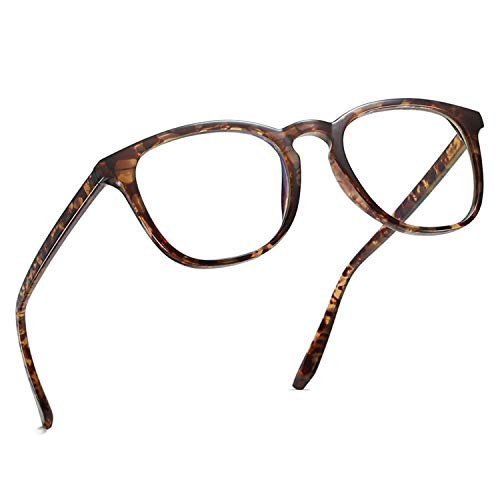 Blaues Licht Blockiergläser, Mloz Blaulicht Filter Computerbrille, Anti Eyestrain Vintage Runde Rahmen Brillen für Frauen Männer (Runde Leopard)