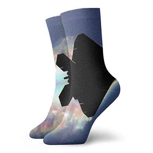 Kevin-Shop Regenboogwolk Vliegtuig Compressiesokken Fun Casual Crew sokken, dunne sokken korte enkels voor outdoor, Athletic Moisture Wicking