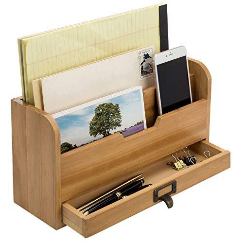 Organizador rústico madera para oficina escritorio - Organizador de archivos - Organizador de correo bandeja soporte con cajón de almacenamiento