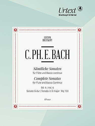 Sämtliche Sonaten f. Flöte und Bc Band 6: G-dur Wq 133: Flöte, Basso continuo