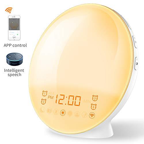 Coulax Lichtwecker [SMART VERSION] Wake up Licht mit Alexa Sprachsteuerung Wecker Sonnenauf und Sonnenuntergangs mit Android iOS App Smartleben Licht