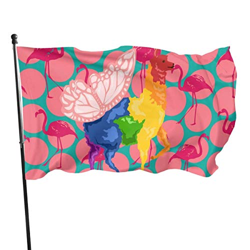 DDOBY Rainbow Butterfly Llama Flamingo Fly Breeze Drapeau en Polyester 3x5 Pieds, Drapeaux de Plage durables résistants à la décoloration avec en-tête et œillet en Laiton, Facile à Utiliser