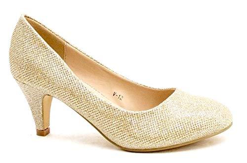 King Of Shoes Damen Klassische Pumps mit Pfennigabsatz Lack Hochzeit (37, Gold Glitzer)