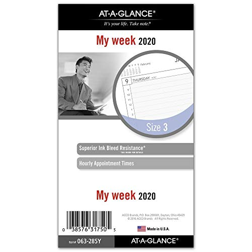 AT-A-GLANCE 2020 Weekly Planner Refill, Day Runner, 3-3/4' x 6-3/4', Portable Size 3, Loose-Leaf (063-285Y)