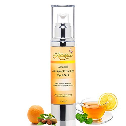 Anti-Aging Wrinkle Cream with Matrixyl 3000, Retinol, Hyaluronic Acid, Vitamin C & E, Biotin, Jojoba Oil & Green Tea - Retinol Wrinkle Beauty Cream for Face, Eye & Neck - 1.7 oz. - by Allurials