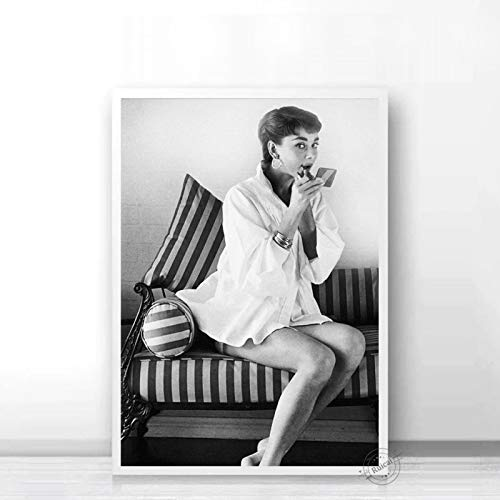Audrey Hepburn Poster Movie Star Prints Nordic Black White Wall Art Canvas Painting Wall Pictures For Living Room Home Decor b53 50X70cm