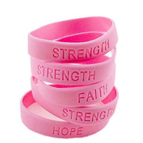 Adorox Hope Women Pink Ribbon Breast Cancer Awareness Bracelets Camouflage Survivor (Solid Pink (12 Pack))
