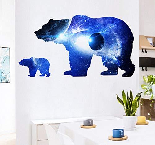 Colorido Cosmic Planet Dog Bear Silueta Etiqueta De La Pared Sala De Estar Habitación De Los Niños Diy Pegatinas Decorativas