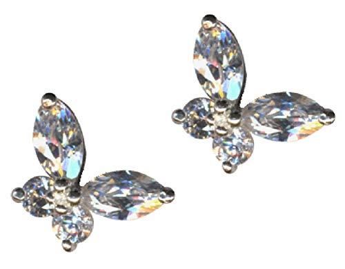 Pendientes de mariposa, pájaro, color blanco, plata de ley 925, circonitas, cristales brillantes, plata de ley 925, plegable, amor, fe, esperanza, emoción, símbolo, diseño, objeto extravagante
