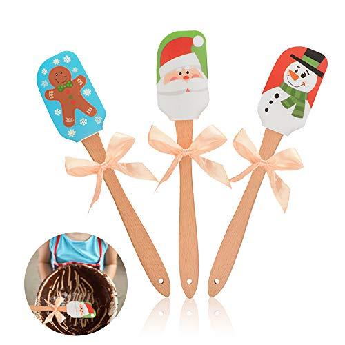 Set di spatole in Silicone, spatola in Silicone Alimentare con Manico in bambù per Cucinare, cuocere e mescolare - Spatola per Torta a Tema Natalizio(Christmas-3PCS)