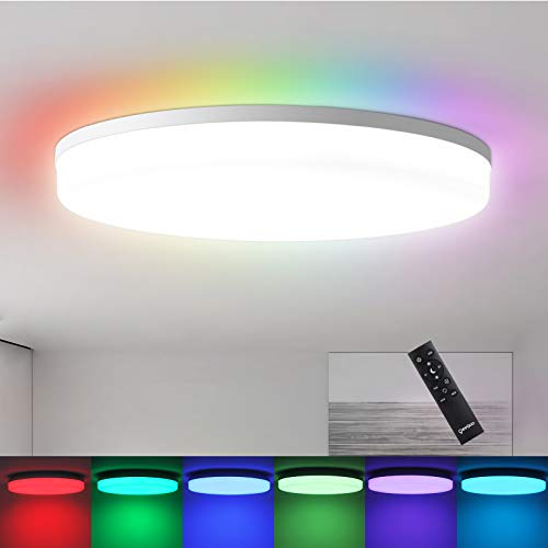 Oeegoo RGB Dimmable Flush Mount Ceiling Light Fixture with Remote Control, 11inch 24W 3000-6500K Close to Ceiling Lights, Round Led Ceiling Lights for Bedroom, Living Room, Bathroom, Kitchen, Hallway