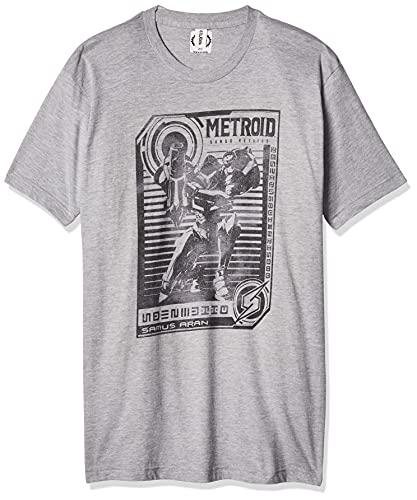 Nintendo Men's Graphic Tees, Grey // Posted Metroid, Large