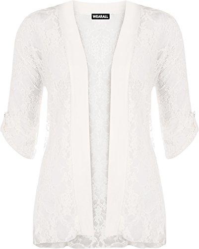 WearAll - Damen Übergröße Spitze Offen Cardigan Top - Crème - 50-52