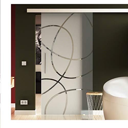 Glasschiebetür 90x205 cm in ESG-Milchglas mit Ellipsen-Dessin Frankfurt (F) Levidor® EasySlide-System komplet. Laufschiene und Stangengriffe, Schiebetür aus Glas für Innenbereich