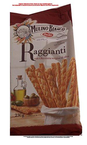 Mulino Bianco Raggianti con Olio extra vergine di oliva 6 x 230g = 1380g Salzige Backware Brotstangen mit Olivenöl.