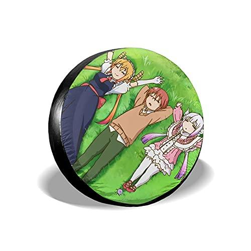 hgerGWW Cubiertas de la Rueda de respuesto Anime Miss Kobayashi'S Dragon Maid Toru Wheel Cubiertas para Llantas Impermeables, a Prueba de Polvo y Cubierta para Llantas de Repuesto Cubierta