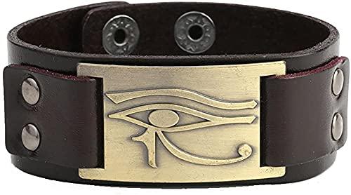 AMOZ Pulsera de piel egipcia vintage con diseño de ojo de Horus, latón antiguo, color marrón