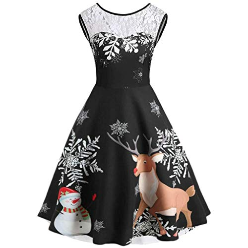 showsing-vrouwen kleding Womens Vintage Kerstmis Slim Fit Party Dress, Dames Mouwloos Kant O-hals Sneeuwvlok Rendier Print Skater Swing Avond Party Jurk