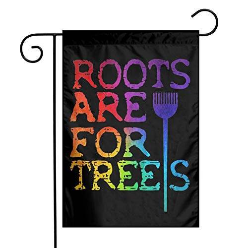Augenstern Garden Flag Roots are for Trees Hairdresser 12 X 18 Inch Winter Yard Flag Double Sided Yard Decorations Holiday Outdoor Flag