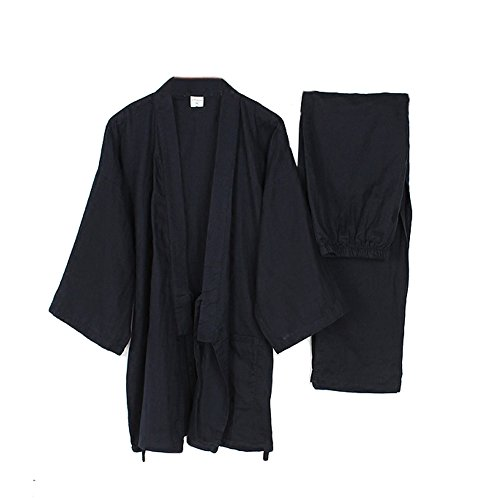 Fancy Pumpkin Trajes de Estilo japonés de los Hombres Traje de meditación de Traje de Pijamas de Kimono Fino-Azul Marino XL
