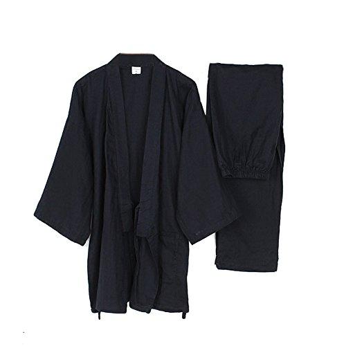 Trajes de Estilo japonés de los Hombres Traje de meditación de Traje de Pijamas de Kimono Fino-Azul Marino XL