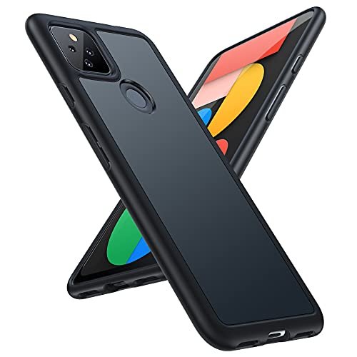 TORRAS Shockproof Compatible for Google Pixel 5a Case (5G), [Military Grade Drop Tested] Translucent Matte Hard PC Back with Soft Silicone Edge Slim Protective Guardian, Mystic Black