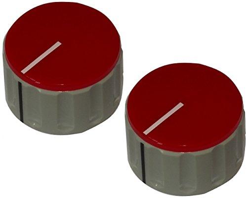 AERZETIX: 2X Botón para potenciómetro de Eje Lisa 6mm Ø36.5x20.5mm Gris y Rojo de ABS C12525