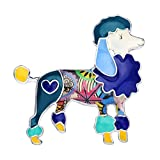 DUOWEI Cute Poodle Dog Brooch Pins for Women Teens Girls Floral Enamel Dog Brooch Jewelry Clothes Scarf Jacket Decoration (Blue)