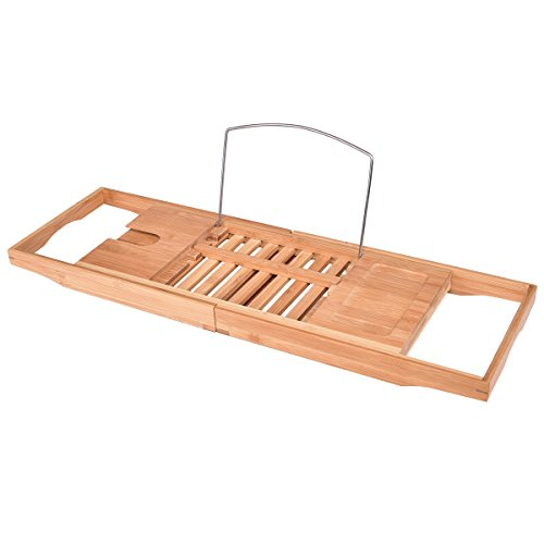 Giantex Bamboo Bathtub Caddy with Extending Sides, Bamboo Bath Tray with Extending Sides, Reading Rack, Wine Glass, Book and Tablet Holder