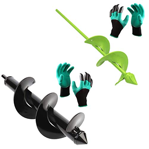 BLIKA Auger Drill Bit, Garden Plant Flower Bulb Auger 3' x 12' and 3' x 16' Rapid Planter with Garden Genie Gloves, Post or Umbrella Hole Digger for 3/8' Hex Drive Drill