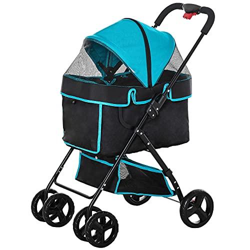 PawHut Foldable Dog Stroller Pet Cat Travel Pushchair Trolley Adjustable Canopy Brake Removable Cloth Basket Bottle Holder Safety Leash