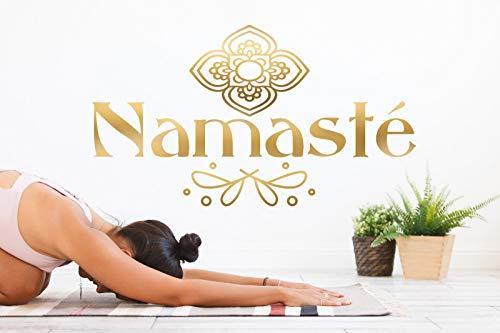 tjapalo® pk222 Wandtattoo Namaste gold Yoga Sprüche Buddah Wandaufkleber indisch Wandtattoo Jugendzimmer Mädchen, Farbe: gold metallic, Größe: B58xH32cm