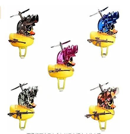 Lewpox Gumowa kaczka ornamentowa do samochodu, fajna kaczka ze śmigłem/kaskiem/okularami/złotym łańcuszkiem/ornamentem samochodowym, zabawka dla dorosłych i dzieci